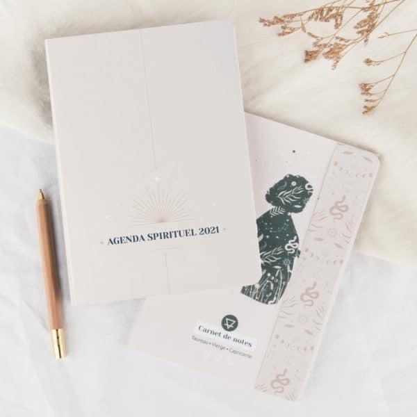 Coffret agenda spirituel 2021 et carnet de notes Womoon